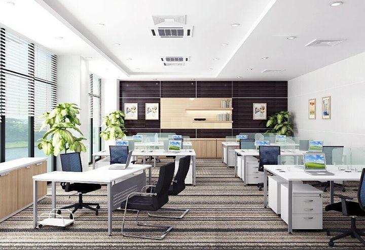 Thiết kế một phòng làm việc rộng với những khung cửa kính cao sát trần