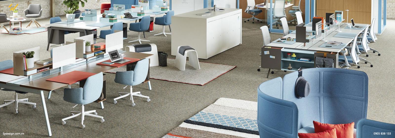 Không gian thiết kế nội thất làm việc của văn phòng 100m2 với tông màu xanh