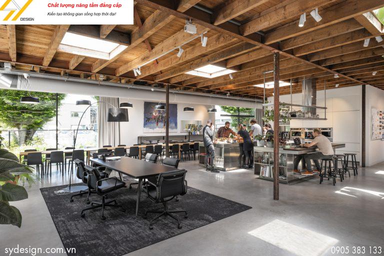 Phối cảnh nội thất cho thiết kế văn phòng làm việc với không gian ấn tượng, thoải mái
