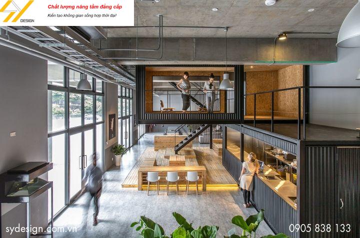 Phong cách thiết kế văn phòng thô mộc