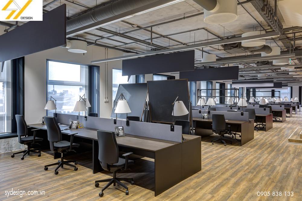 Bố trí các dãy đèn song song trong nội thất văn phòng