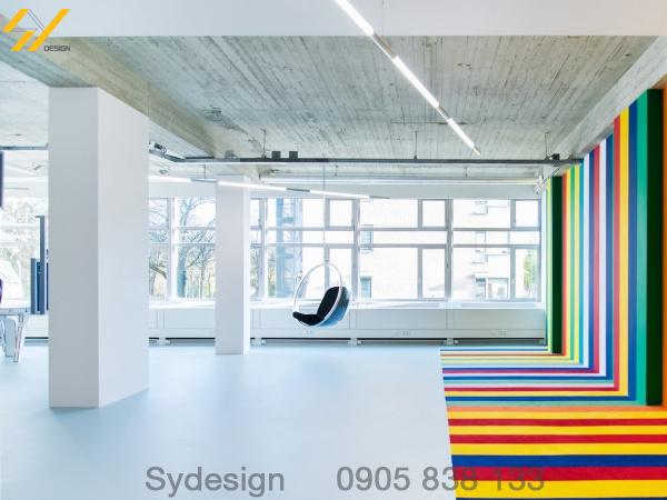 Kết hợp nhiều màu sắc trong thiết kế nội thất văn phòng