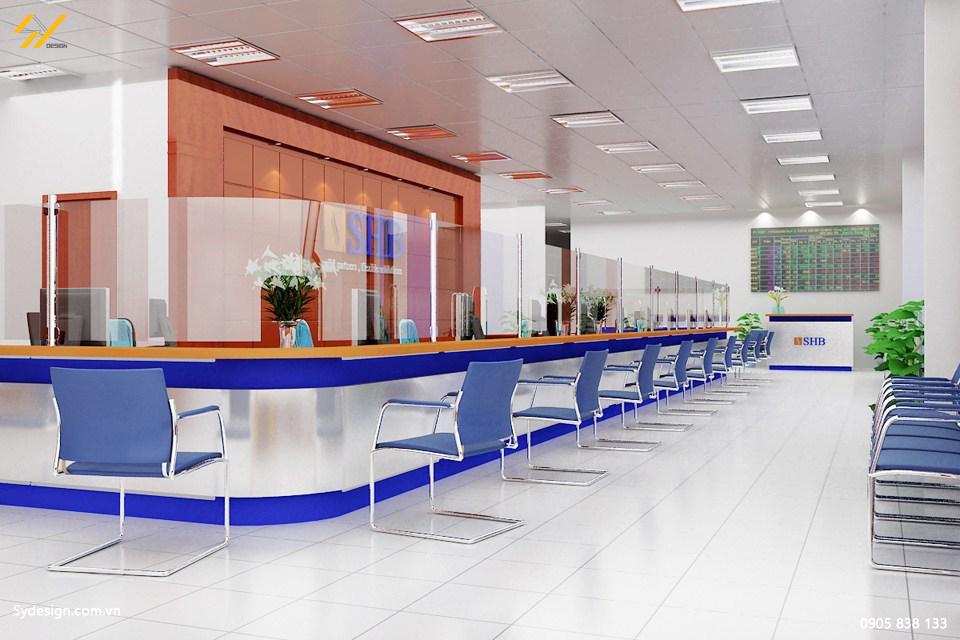 Văn phòng giao dịch khi thi công nội thất văn phòng cần bố trí thêm chỗ ngồi cho khách hàng.