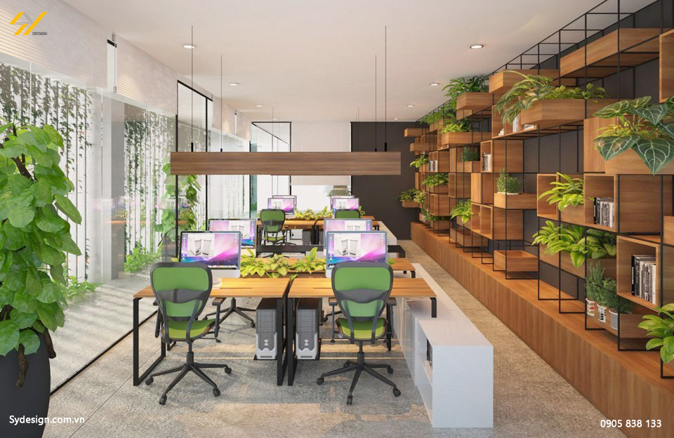 Mẫu thiết kế thi công nội thất văn phòng xanh tuyệt vời với kệ sách và cây xanh hài hòa.