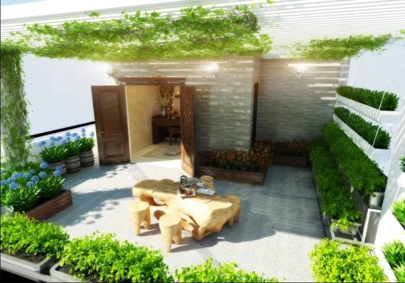 Xây nhà 3 tầng, một lửng với nội thất gỗ tự nhiên