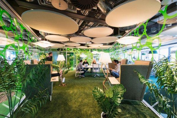 mảng xanh trong thiết kế nội thất văn phòng