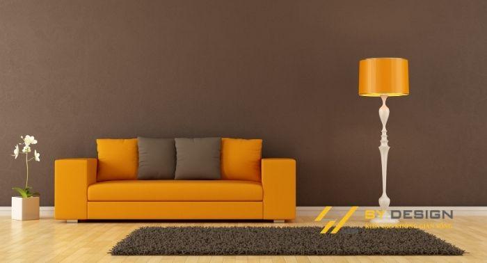 phòng khách với tông màu ấm
